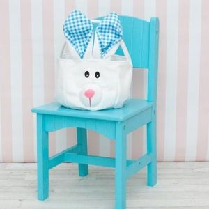 NWT! Blue Plaid Easter Bunny Basket